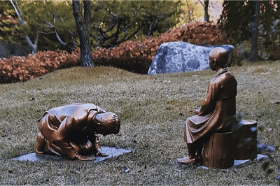 The Japanese Government Is Furious About a Sculpture Allegedly Depicting Prime Minister Shinzo Abe Kneeling Before a 'Comfort Woman'
